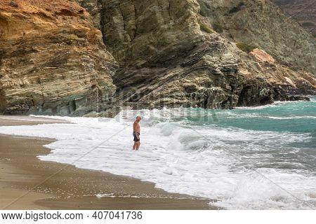 Folegandros, Greece - September 24, 2020: Agali Beach On Folegandros Island. An Ideal Swimmers Beach