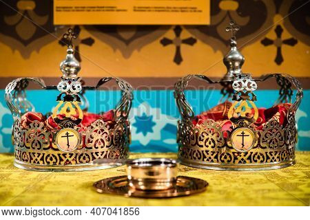 Interior Of An Orthodox Ukrainian Church. Two Crowns For The Sacrament Of The Wedding