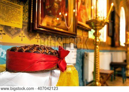 Interior Of An Orthodox Ukrainian Church. Wedding Loaf