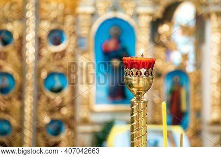 Interior Of An Orthodox Ukrainian Church. Interior Of An Orthodox Ukrainian Church. Burning Red Cand