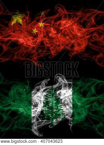 China, Chinese Vs Australia, Australian, Norfolk Island Smoky Mystic Flags Placed Side By Side. Thic