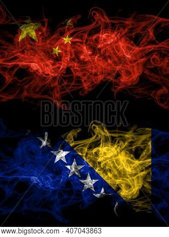 China, Chinese Vs Bosnia And Herzegovina, Bosnian, Herzegovinian Smoky Mystic Flags Placed Side By S
