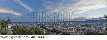 Cityscape Of Graz And The Clock Tower (grazer Uhrturm), Famous Tourist Attraction On Shlossberg Hill