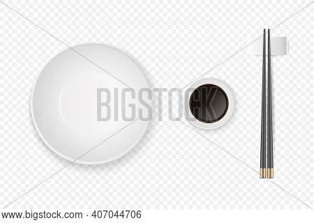 Vector 3d Realistic Bowl, Plate, Soy Sauce, Black Chopsticks Set Closeup Isolated. Design Template O