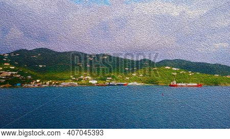 Illustration In The Sea Ships Beautiful Green Mountains, Watercolor Painting Tropical Island With Se
