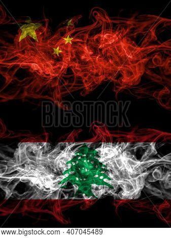 China, Chinese Vs Lebanon, Lebanese Smoky Mystic Flags Placed Side By Side. Thick Colored Silky Abst