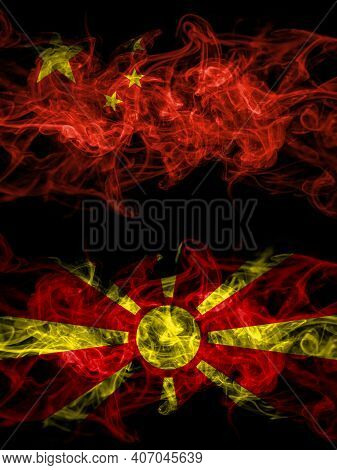 China, Chinese Vs Macedonia, Macedonian Smoky Mystic Flags Placed Side By Side. Thick Colored Silky