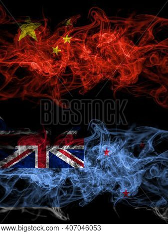 China, Chinese Vs New Zealand, Ross Dependency Smoky Mystic Flags Placed Side By Side. Thick Colored