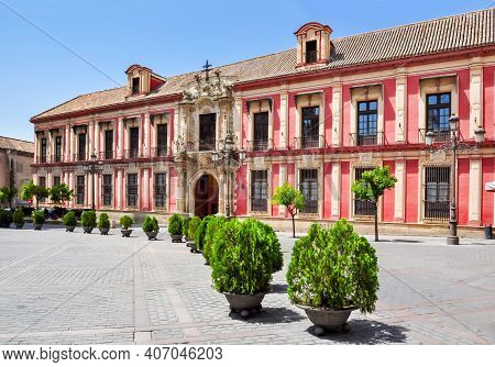 Archbishop Palace On Triumph Square In Seville, Spain
