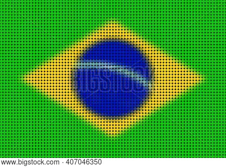 Dot Pattern Brazilian Flag Illustration. Simply Decorative