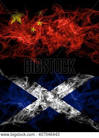 China, Chinese Vs Scotland, Scottish, Scots Smoky Mystic Flags Placed Side By Side. Thick Colored Si