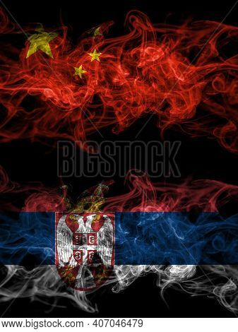 China, Chinese Vs Serbia, Serbian Smoky Mystic Flags Placed Side By Side. Thick Colored Silky Abstra
