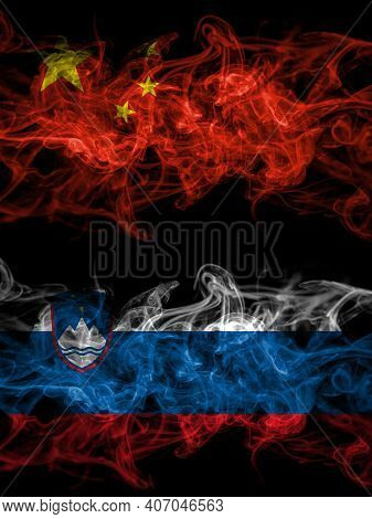 China, Chinese Vs Slovenia, Slovenian Smoky Mystic Flags Placed Side By Side. Thick Colored Silky Ab