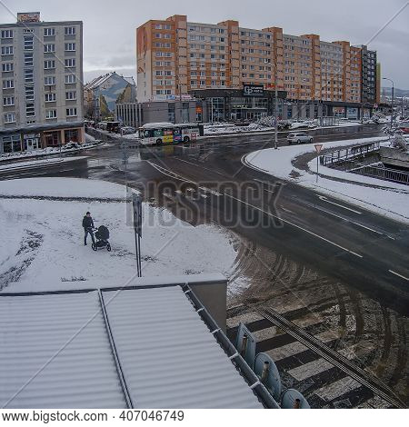 Chomutov, Czech Republic - January 24, 2021: Snow In Streets Of City