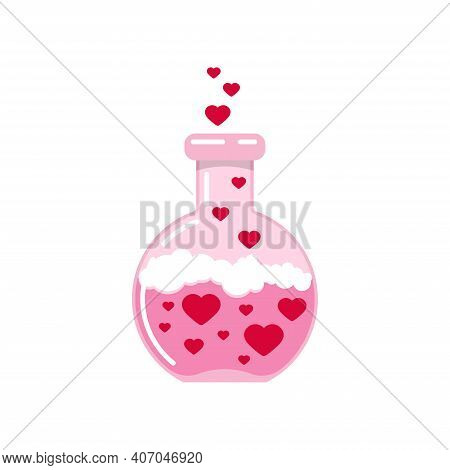 Chemistry Flask With Hearts And Love Poison Valentines Day Icon Isolated On White Background. Pink C