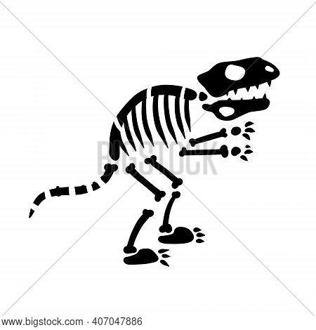 Dinosaur Skeleton. Bones Of Prehistoric Lizard. Silhouette Of Monster. Halloween Element. Archeology