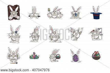 Selection Of Hare Character For Easter Holiday. Vector Doodle Sketch