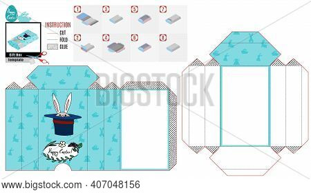Casket Box Template For Easter. Rabbit And Magic Hat. Vector Doodle