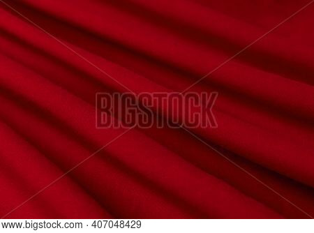 Fabric, Tissue, Textile, Cloth, Fabric, Web Material Wavy Red Close-up Texture Fabric Background