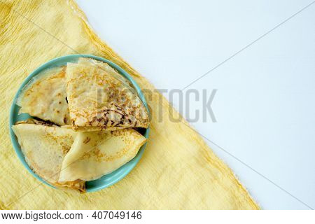 Russian Pancakes With Fresh Cream Cheese. Country Style