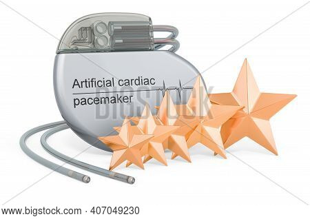 Customer Rating Of Artificial Cardiac Pacemaker. 3d Rendering Isolated On White Background