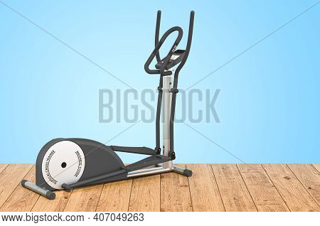 Elliptical Trainer Or Cross-trainer On The Wooden Planks, 3d Rendering