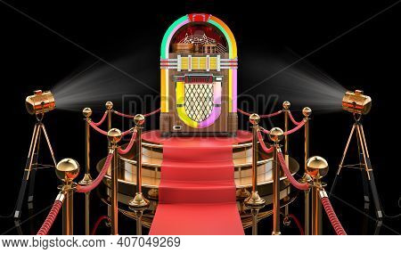 Podium With Classic Jukebox, 3d Rendering Isolated On Black Background