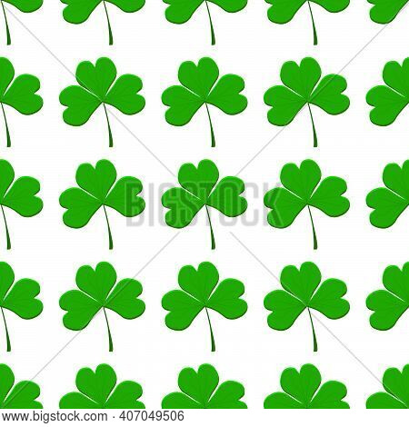 Illustration On Theme Irish Holiday St Patrick Day, Seamless Green Shamrock Clover. Pattern St Patri
