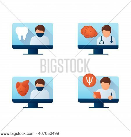 Telehealth Flat Icons Set. Video Meetings Doctors With Patients. Remote Healthy Check. Telemedicine,