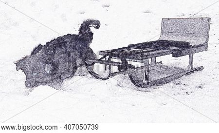 Illustration Of A Dog With A Sleigh, Dogs On The Snow In The Mountains With A Sleigh. Sled Dog.