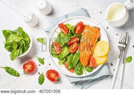 Salmon Fillet With Fresh Salad. Baked Salmon. Healthy Food, Keto Diet. Healthy Lunch Or Dinner.