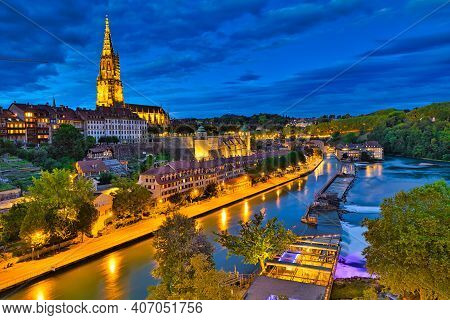 Bern Skyline, Switzerland Capital, And Cathedral, The Most Important Evangelical Building Of City Il