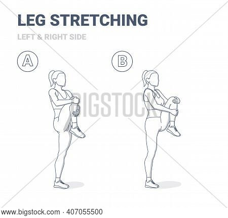 Standing Gluteus Maximus Stretch Girl Home Workout Exercise Guide. Female Doing Relaxation Leg Stret