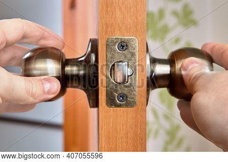 Doors Latch Have Spring-loaded Mechanism That Door Knob Turns To Release It From Door Jamb Strike Pl