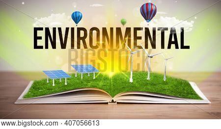 Open book with ENVIRONMENTAL inscription, renewable energy concept
