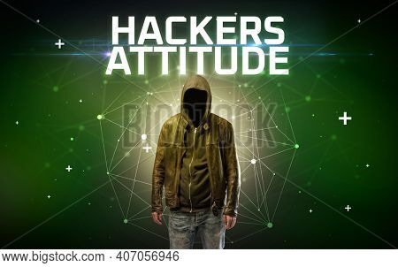 Mysterious hacker with HACKERS ATTITUDE inscription, online attack concept inscription, online security concept