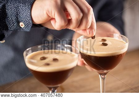 Espresso Martini Vodka Short Drink As A Coffee Cocktail Inclduing Coffee Liqueur And Vanilla Syrup