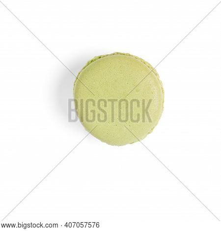 Macaron. Traditional French Colorful Macarons Close Up, Macro Isolated On White Background