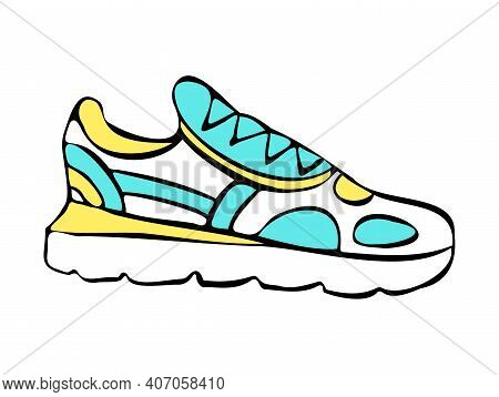 Vector Isolated Illustration Drawn, Doodle Illustration With Sports Shoes. The Concept Of Sportswear
