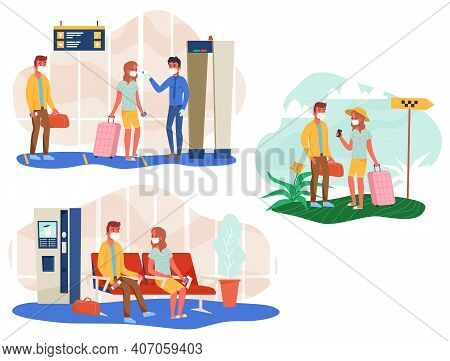 Set Of People In Face Mask With Luggage Check Temperature At Airport, Wait For Departure And Wait Fo