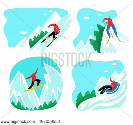 Vector Man Rolling Down Mountain On Inflatable Snow Tube, Skiing, Snowboarding. Background Of Mounta
