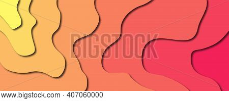 Paper Cut Background. Paper Art Cartoon Abstract Waves. Smooth Origami Art Shape Paper Cut.vector Il