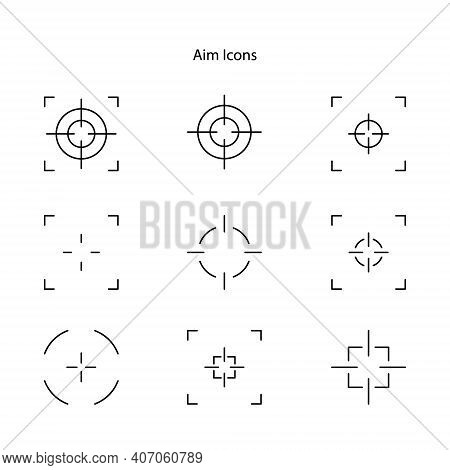 Sniper Aim On White Background. Target Icons, Focus Symbol In Circle. Isolated Gun Shoot Aim Set. Bu