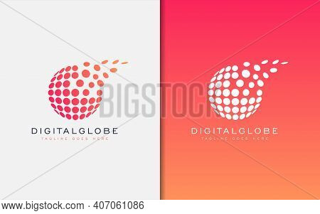 Digital Globe Logo Design. A Collection Of Circles In The Shape Of A Globe. Usable For Business And