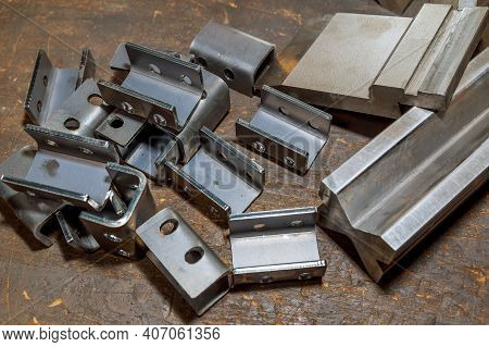 Sheet Metal Bending Tool And Equipment Isolated On A White Background. Special Bending Machine Formi