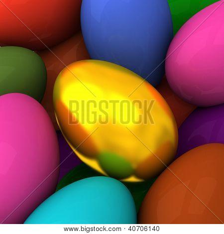 Golden 3d Easter egg