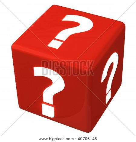 Red question cube, 3d