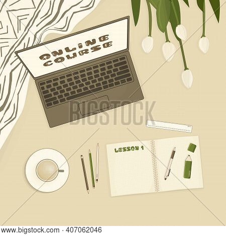 Spring Concept On Beige Background. Open Laptop, White Tulips, Plaid, Notebook For Summary Notes, Pe