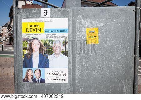 Annemasse, France - June 19,2017: Political Poster For Lrem For 2017 French Legislative Elections. L