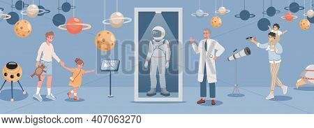 Happy Children With Parents At Excursion In Space Museum Or Planetarium Vector Flat Illustration. To